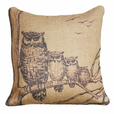 Owl Family Throw Pillow
