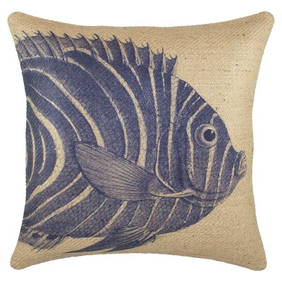 Fish Burlap Throw Pillow