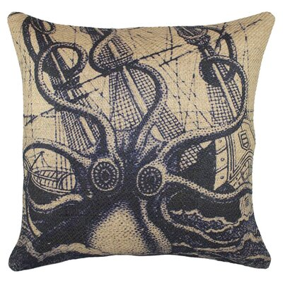 Octopus with Ship Burlap Throw Pillow