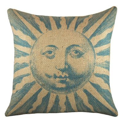 Sun Burlap Throw Pillow Color: Blue