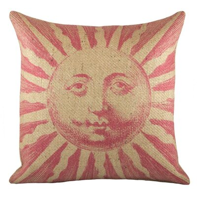 Sun Burlap Throw Pillow Color: Pink
