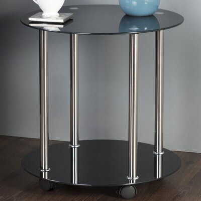 Round Wheeled End Table