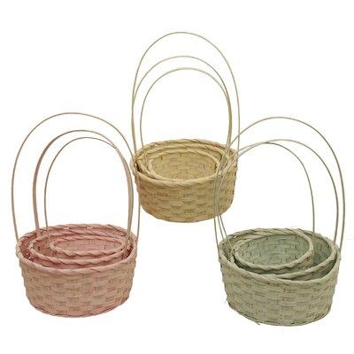 3 Piece Round Woven Bamboo Basket Set