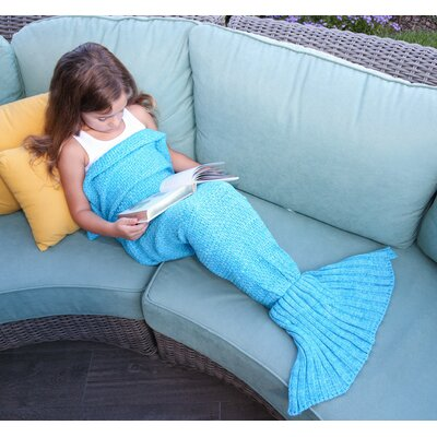 Mermaid Tail Blanket Color: Blue, Size: 55 L x 28 W (Small)