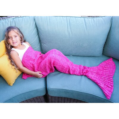 Mermaid Tail Blanket Color: Pink, Size: 55 L x 28 W (Small)