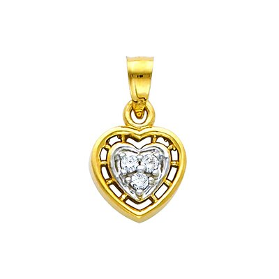 14K Yellow Gold Journey Tilted Open Heart Cubic Zirconia CZ Charm Pendant with 1.2mm Singapore Chain Necklace