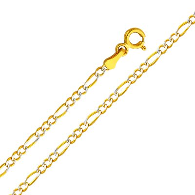 "Precious Stars 14kt Yellow Gold 2.1mm Figaro Two Tone Chain  - Size: 24"" at Sears.com"