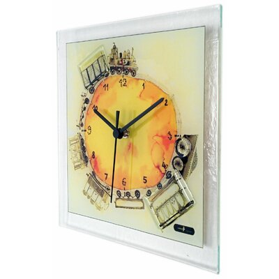 Square Glass Art Clock with Train GTRAIN-10
