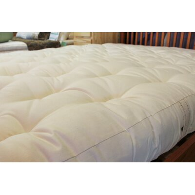 5 100% Organic Cotton and Wool Futon Mattress Size: Twin