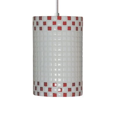 Mosaic 1-Light Mini Pendant Finish: Red and White, Bulb Type: Incandescent