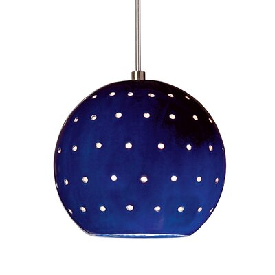 Lunar 1-Light Mini Pendant Finish: Cobalt Blue, Canopy and Transformer: With