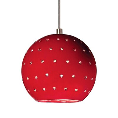 Lunar 1-Light Mini Pendant Finish: Matador Red, Canopy and Transformer: With
