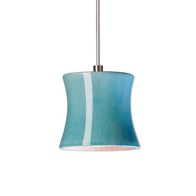 Sake 1-Light Mini Pendant Finish: Teal Crackle, Canopy and Transformer: With