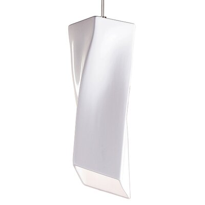 Twister 1-Light Mini Pendant Finish: White Gloss, Canopy and Transformer: With