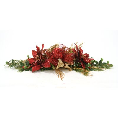 Holiday Sparkle Jeweled Poinsettia Mantel or Table Centerpiece