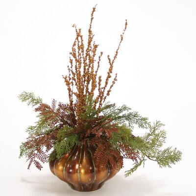 Merry Christmas Sequined Twigs Cedar in Vase image