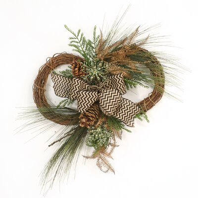Chevron Ribbon Tied Pine Boughs Cedar and Copper Fern on Conjoined Nito Vine Wreaths
