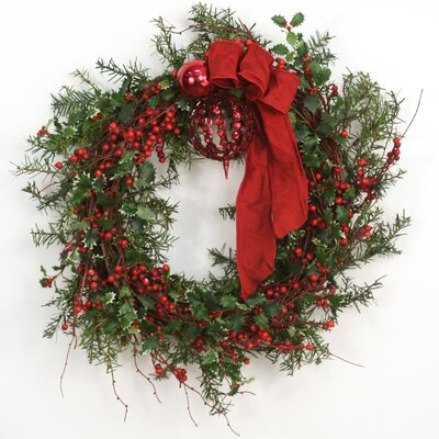 Down Home Holly Berry Wreath with Ornaments