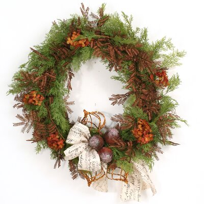 Merry Christmas Cedar Mimosa and Ornament Wreath image