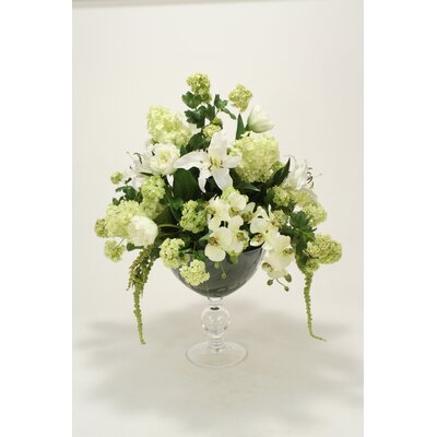 Green, White in Vase 6923