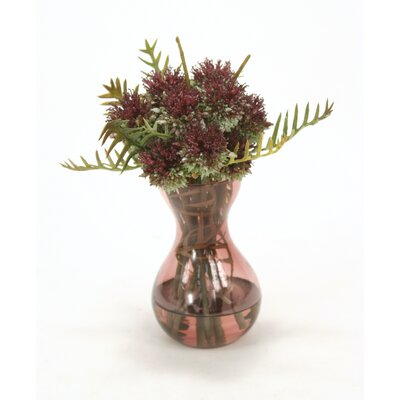 Waterlook Thistle and Schrefilea Foliage in Glass Vase