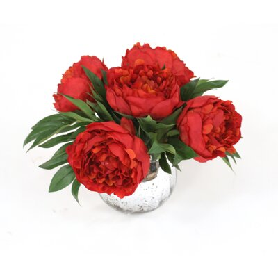 Red Peonies in Mercury Glass Vase 16226A