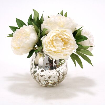 Waterlook White Peonies in Mercury Glass