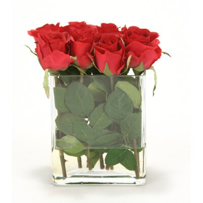 Distinctive Designs Waterlook Red Roses in Clear Glass Urn 16012