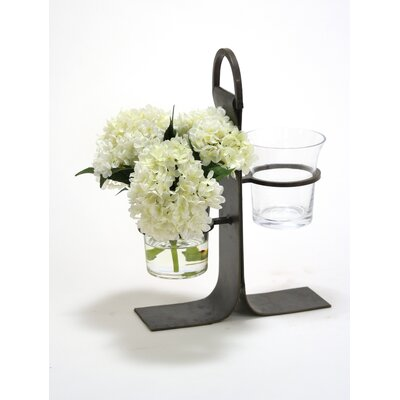 Waterlook White Hydrangeas in Glass Cylinder Vase in Wrought Iron Stand 17035
