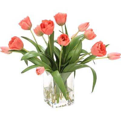 Waterlook Elegant Tulips Floral Arrangements in Glass Vase Flower Color: Coral