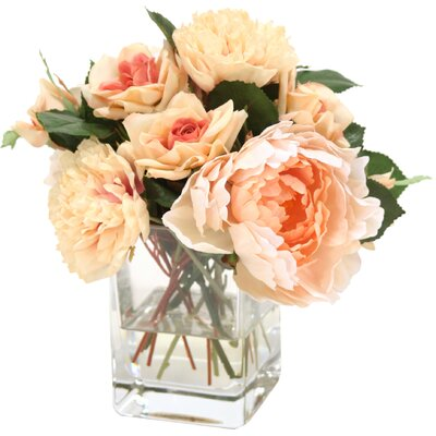 Waterlook Cream Peach Mixture of Peonies and Roses in Glass Cube Vase