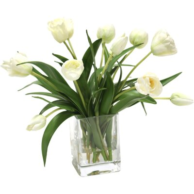 Waterlook Elegant Tulips Floral Arrangements in Glass Vase Flower Color: Ivory