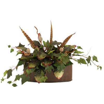 Distinctive Designs Silk Ivy and Magnolia Boughs with Feathers Floor Plant in Planter at Sears.com