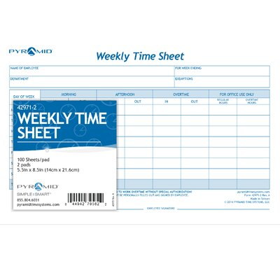Weekly Time Sheet Pads