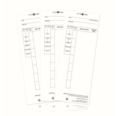 Pyramid Time Cards for Pyramid 4000, 4000Pro, 4000HD, 5000 and 5000HD Time Clocks - Quantity: 1000 Pack