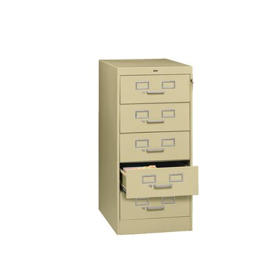 Card and Multimedia File Filing Cabinet Color: Sand, Size: 19 x 28 x 40 (5 Drawer)
