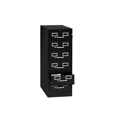 Card and Multimedia File Filing Cabinet Color: Black, Size: 21 x 28 x 52 (6 Drawers)