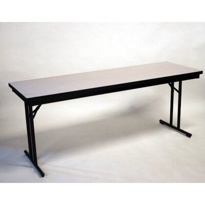30 W Training Table with Modesty Panel Base Finish: Black, Size: 29 H x 30 W x 60 D, Tabletop Finish: Pewter Brush