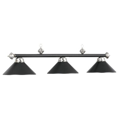3-Light Billiards Light Finish: Matte Black/Stainless Steel