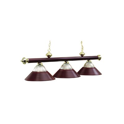 3-Light Billiard Light Finish: Burgundy