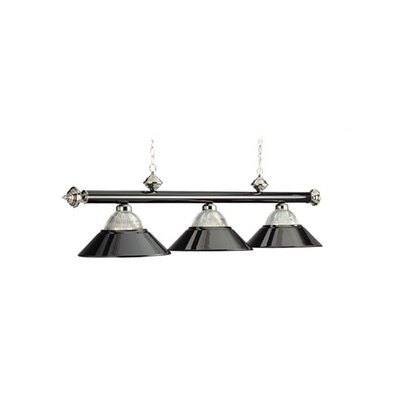 3-Light Billiard Light Finish: Black/Chrome