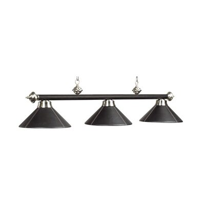 Pool Table Light Size: 54, Shade Color: Black Leather