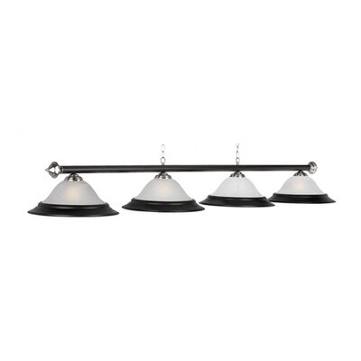 4-Light Billiard Light Finish: Matte Black/Stainless