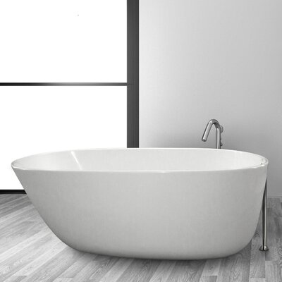 Daniela 58 x 30 Freestanding Soaking Bathtub Finish: White