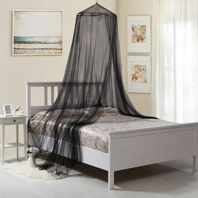 Laurencho Round Hoop Sheer Bed Canopy Net Color: Black