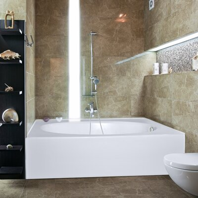 Builder Kona 60 x 42 Soaking Bathtub Finish: Bone, Drain Location: Right