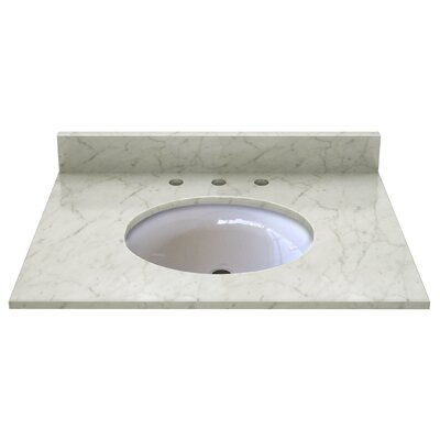 Natural Stone 31 Single Bathroom Vanity Top Top Finish: Carrera White