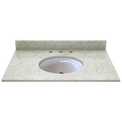 Natural Stone 37 Single Bathroom Vanity Top Top Finish: Carrera White