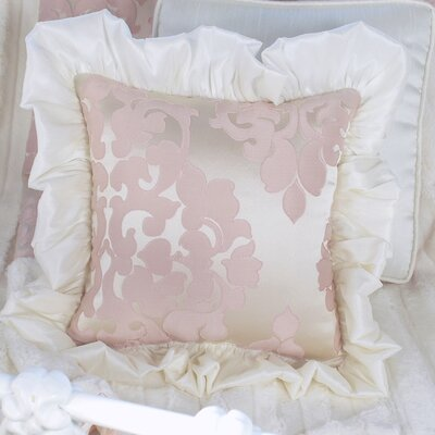 Blush Petal Ruffle Throw Pillow