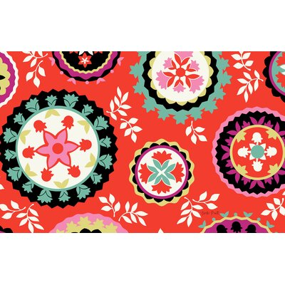 Bird Berries Susani Red Area Rug Rug Size: 31 x 110.5